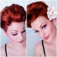 The victory rolls vintage hairstyles, up hairstyles, creative hairstyles, w Creative Hairstyles, Retro Hairstyles, Curled Hairstyles, Wedding Hairstyles, Pin Up Hair, Big Hair, Roll Hairstyle, Rockabilly Hair, Pin Curls