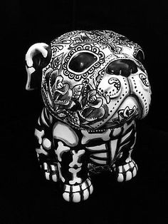 Day of the Dead Sugar Skull Bull Dog Statue Cookie Jar Dia Los Muertos Pet Urn Tag der Toten Sugar S Skull Couple Tattoo, Skull Tattoos, Cat Tattoo, Couple Tattoos, Animal Tattoos, Tiki Tattoo, Sugar Tattoo, French Bulldog Tattoo, Sugar Skull Art