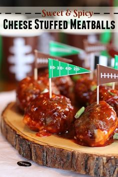 These Sweet & Spicy Cheese Stuffed Meatballs are a perfect treat for the big game and the best part is, they are super easy to make! #KetchupWithFrenchs #ad