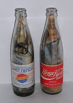 Vintage Russian USSR Coca Cola  Diet Pepsi Bottles FULL of Paper Money Rubles