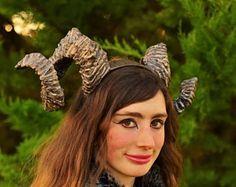 Giant Ram Horns Gold  mythical  Rubber horns  50cm Long  Halloween Devil