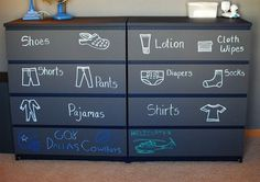 Help Your Kids Stay Organized This Summer | 11) Along with toys, clothes can be more easily organized with labeled drawers. This dresser was painted in chalkboard paint so the labels can be changed as children get older.