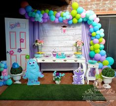Monsters Inc Baby, Gold Party Decorations, Gender Reveal, Balloons, Birthday, Kid Birthdays, Fiestas, Finger Nails, Monster Inc Birthday