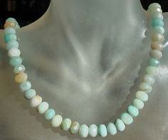 Aquamarine Rondelle Faceted Beads Necklace  Sterling by camexinc, $45.00