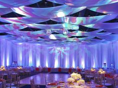 Gorgeous high ceiling #draping with colored #gobo and #uplighting set up! #RentMyWedding