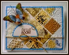 Butterfly, card, lace, embossed, twine, get well