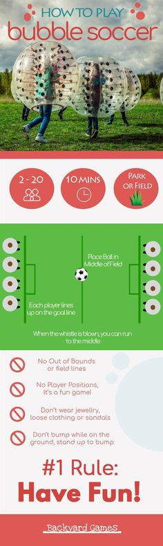 How to Play Bubble Soccer Infographic.  Hilarious and SUPER FUN way to play soccer, you can get some really great bounces and have an awesome time running and bouncing around in a bubble soccer ball.  Here's how to play.  #infographic  #bubblesoccer #soccer #outdoor #getoutside #soccerinfographic
