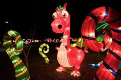 A dinosaur lantern is seen on the opening night of the China Lights lantern festival Friday, January 19, 2018, at Craig Ranch Regional Park in North Las Vegas. The festival, which features nearly 50 silk and LED light displays comprised of over 1000 elements, runs through February 25th. CREDIT: Sam Morris/Las Vegas News Bureau