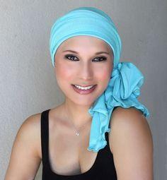 Aqua Turban, Turquoise Head Wrap Alopecia Chemo Head Scarf Jersey Knit, Hat & Scarf Set - pinned by pin4etsy.com