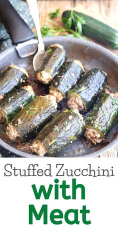 Stuffed Zucchini with Meat, Italian style, nothing says Italian Summer Dinner Dish then this. A delicious meatball mixture stuffed inside a hollowed out Zucchini and then pan-fried or baked to perfection. Dinner Dishes, Dinner Recipes, Dinner Ideas, Main Dishes, Side Dishes, Stuffed Zucchini, Zucchini Boats, Secret Sauce Recipe, Tasty Meatballs