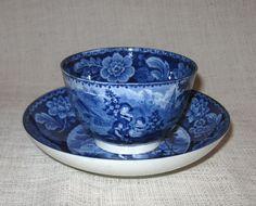 Antique Davenport Flow Blue Handless Cup and Saucer