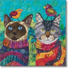 "Mini quilt gatos - patchwork gatos - ""Opie and Mittens Go Bird Watching"" by Nancy S. Patchwork Quilting, Applique Quilts, Art Calendar, Cat Quilt, Quilt Art, Animal Quilts, Landscape Quilts, Cat Crafts, Fabric Art"