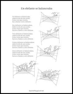Printable lyrics for the Spanish children's song Un elefante se balanceaba.