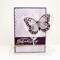 Geburtstagskarte mit den neuen Thinlits Schmetterlinge und dem Sempelset Schmetterlingsgruß von Stampin´ Up! aus dem Frühjahr-Sommer Katalog 2015.  Das Papier ist aus der Sale-A-Bration 2015 - einfach zauberhaft!