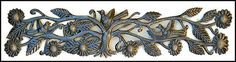 """Birds and Flowers Recycled Steel Drum Metal Wall Hanging from Haiti - 8"""" x 34"""" - JJ-610"""