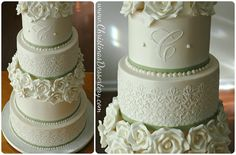 lace on buttercream cake   megan buttercream cake with buttercream lace stenciled on the sides ...