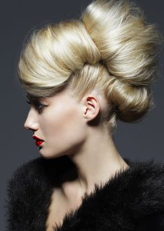 Stunning Retro Updo - Chanel Red lip.