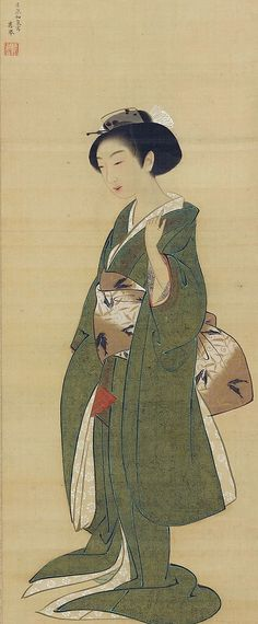 Detail. Young woman. Maruyama Ōkyo, 1772. Detail of hanging scroll.