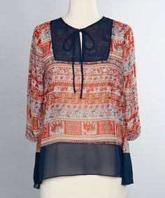 Another great find on #zulily! Red Carmindy Peasant Top Blouse #zulilyfinds