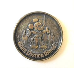 Vintage Walt Disney Coaster Pewter Brass Mickey Mouse Walt Disney Productions