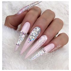 Summer stiletto nails Nude pink ombré glitter Opal and shell design