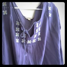 American Eagle peasant blouse Gently worn American Eagle Peasant top. Beautiful embroidered chest and sleeves. Sheer chambray cotton. American Eagle Outfitters Tops Blouses