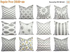 15% OFF SALE Grey Pillow Covers Grey and by CastawayCoveDecor