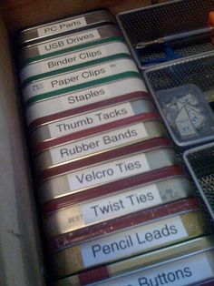 Easy Storage recycling Altoids tins for the desk. Love that they don't take up too much space...