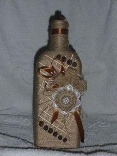 Painted Glass BottlesPaint BottlesDecorated BottlesWine Bottle VasesRecycled Wine BottlesGlass Bottle CraftsBottles And JarsAltered BottlesBottle Painting. Glass Bottle Crafts, Diy Bottle, Bottle Art, Wrapped Wine Bottles, Bottles And Jars, Glass Bottles, Coffee Bean Art, Decoupage Jars, Burlap Art