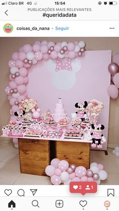 Minnie Mouse Birthday Decorations, Birthday Party Decorations Diy, Minnie Birthday, Baby Shower Decorations, 2nd Birthday, Minnie Mouse Baby Shower, Minnie Mouse Pink, Minnie Mouse Party, Bubble Birthday Parties