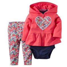 f497afb07 Baby Girl Carter s Hooded Peplum Cardigan Set