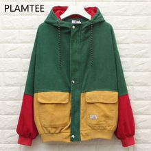 PLAMTEE Fashion BF Bomber Jacket Oversized Patchwork Pockets Autumn Hooded Coat Contrast Color Zipper Casacos Preppy Chaqueta(China)