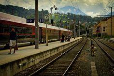 Train at station in Innsbruck, Austria