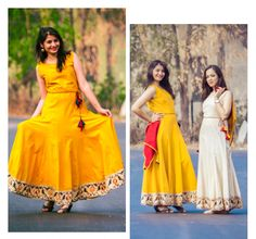 7c95f922ae2 Yellow handloom cotton long dress with a printed border on the hem is  teamed up with a scarf. Sayuri Design Studio