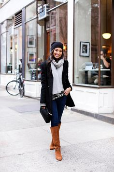 Little Black Peacoat - Saks peacoat // Joie sweater // J Brand jeans Alexander Wang beanie // Gigi New York clutch Sergio Rossi boots // White + Warren scarf Monday, January 25, 2016