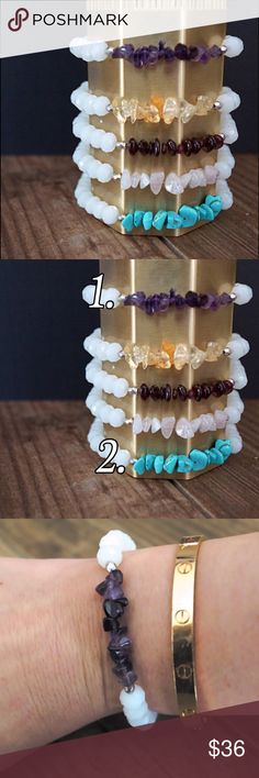 Natural Gemstone and Crystal Stretch Bracelet Beautiful white faceted crystal and semi precious stone stretch bracelet. Two Sterling silver beads framing   All Function and Fringe Jewelry is designed and made with ❤️ in California Available colors:  Amethyst #1 Turquoise #2 Function & Fringe Jewelry Bracelets