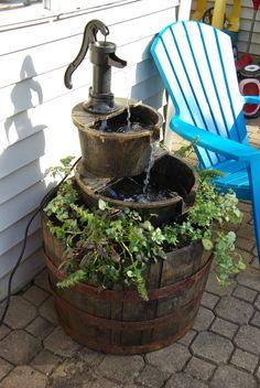 Homemade water fountain pinterest outdoor water fountains water creative planters outdoor decor page 5 of 7 diy water fountainfountain ideaswine solutioingenieria Gallery