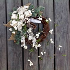 Your place to buy and sell all things handmade Etsy Christmas, Christmas Holidays, Bohemian Christmas, Christmas Gifts, Christmas Gift Decorations, Holiday Decor, White Wreath, Holiday Wreaths, Christmas Inspiration