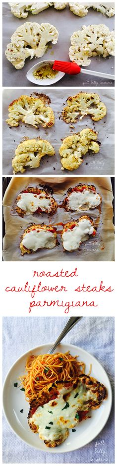 Roasted Cauliflower Steaks Parmigiana is a healthy spin on a classic dish! It's a delicious side or main dish and kids LOVE it! #vegetarian [AD] @ragusauce