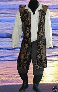 Mens 4pc Renaissance Black Pirate Open Tunic Belt Cotton Poets All Sizes Avail | eBay