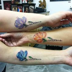 Matching Flower Tattoos for Three Sisters