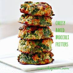 What's for dinner at your house? How about some of these yummy Cheesy Baked Broccoli Fritters? Crunchy, healthy and gluten-free!