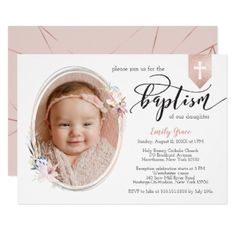 Shop Oval Floral Photo Rose Gold Banner Baptism Invite created by NBpaperco. Personalize it with photos & text or purchase as is!