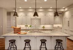 Kashmir White Granite - Transitional - kitchen - Benjamin Moore Stingray - Studio 212 Interiors