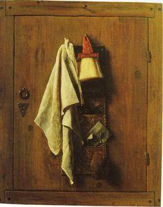 Samuel van Hoogstraten, towel, brush, and letter bag on a door, 1655