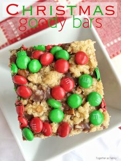 CHRISTMAS GOODY BARS   oats, pecans, chocolate center topped with festive mini m&m's! www.togetherasfamily.com