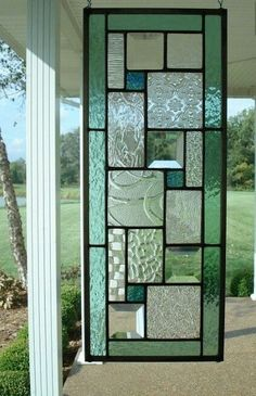 Stained Glass Panel Seafoam Green Window Transom by TheGlassShire. Leuk idee voor glas in lood, als raam of als raamhanger