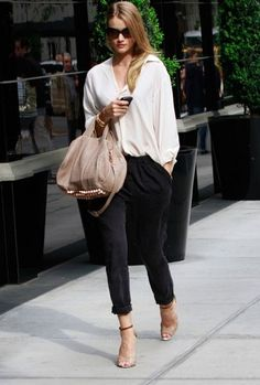 Rosie Huntington Whiteley- white and black with nude accessories