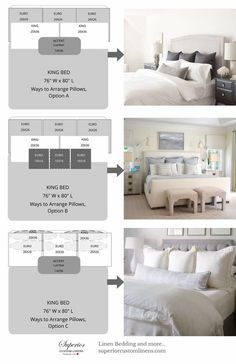 Ways to Arrange Bed Pillows 3 Ways to Arrange Pillows on King size bed. The post Ways to Arrange Bed Pillows – Bedroom appeared first on Bedding Master Bedroom. Camas King Size, Home Bedroom, Bedroom Decor, Bedding Decor, Bedroom Ideas, Bedroom Furniture Arrangement, Artwork For Bedroom, Bedroom Wall Art Above Bed, Artwork Above Bed