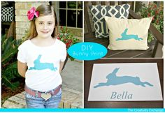 Tutorial for doing several easy DIY bunny print projects with a free printable from the Graphics Fairy.